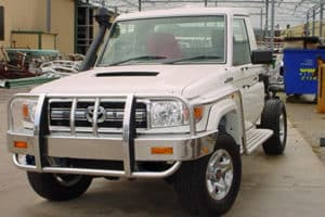 Landcruiser Toyota 70 Series with bullbar and sidestep