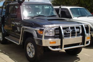 Toyota Landcruiser 70 Series Bullbar with a sidestep